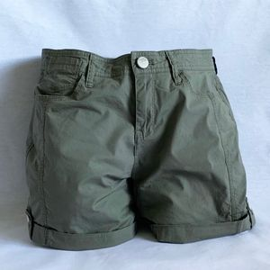 DKNY Jeans Womens Roll Tab Shorts - Olive Green